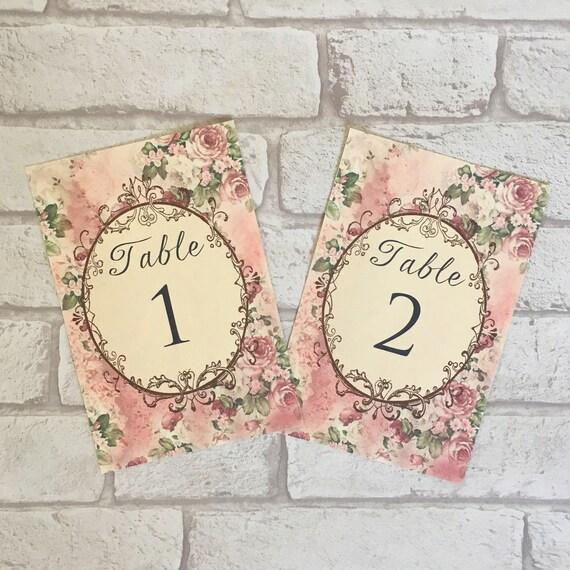 Wedding Table Cards Pink Flower Design Table Names Vintage