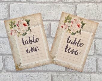 Vintage Style Wedding ~ table number cards ~ stamp rose pink flower centrepiece postcard