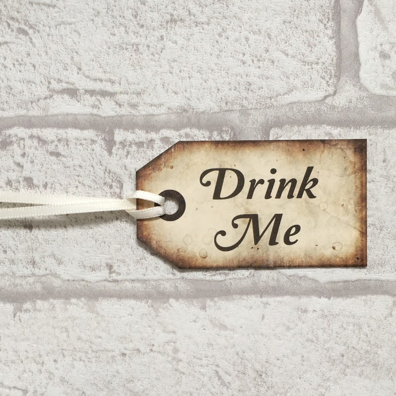 wedding favors party favours - Digital Download Instant gift tags Drink Me Alice In Wonderland