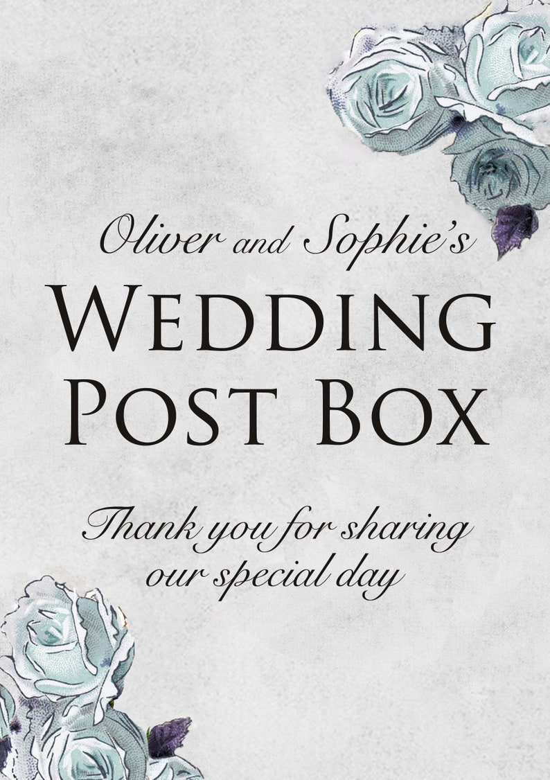 Wedding Post Box Sign Blue Vintage Style Personalised Personalized Custom