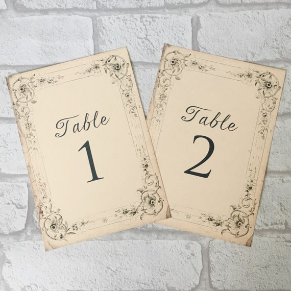Vintage antique style Wedding Table Numbers, names, shabby chic card, aged  table plan