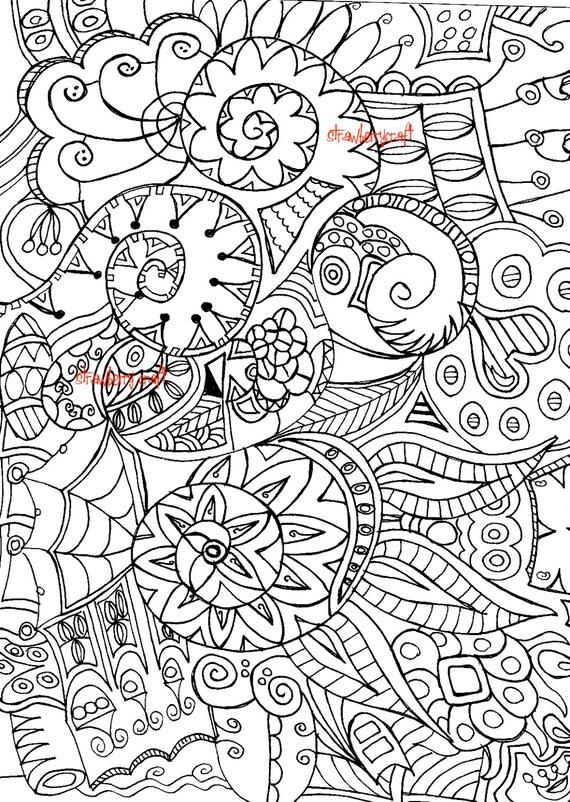 Zentangle inspiró colorear adultos coloración adulta página   Etsy