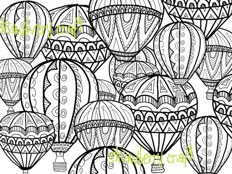 Hot Air Balloon coloring page Coloring page intricate | Etsy
