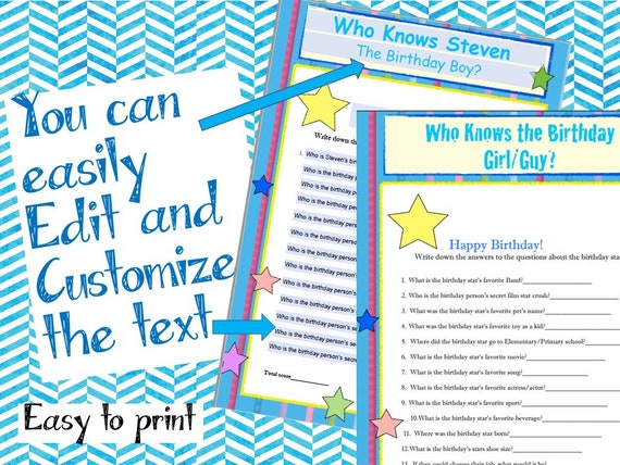 Birthday Party Game Who Knows The Birthday Girl Guy Editable Etsy