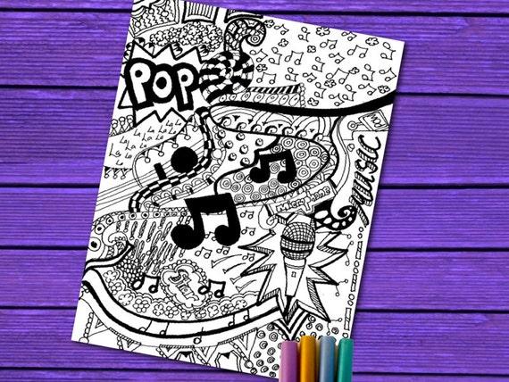 Música para colorear página para colorear de Pop intrincado | Etsy