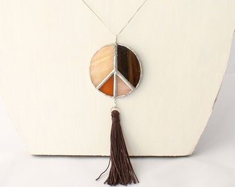 Big pendant peace in brown tones stained glass with removable charms tassel or shell, statement necklace medallion hippie style