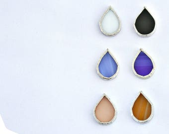 Droplets single Cufflink  stained glass white cornflower blue  powder pink black blue and light brown  sterling silver