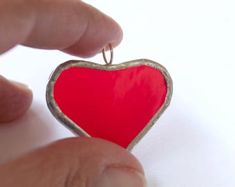 Red heart glass pendant in red stained glass and sterling silver transparent red glass handmade in Italy