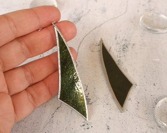 forest green glitter drop long triangular sail shaped earrings in glass and silver, dark green sparkle drop earrings and gold glitter effect