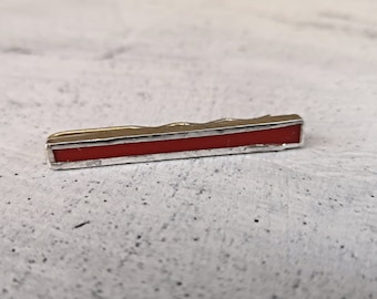 Men's tie clip in silver and red glass, handmade jewelry for men suit and tie, elegant anniversary gift, jewelry for graduation and groom