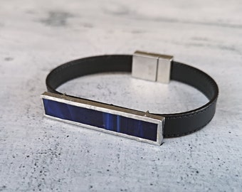 Mens black leather bracelet with blue glass magnetic clasp, casual handcrafted office bracelet, handmade jewelry for elegant gift for boy.