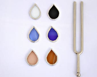 Droplets single post earring in drop shape stained glass white cornflower blue  powder pink black blue and light brown  sterling silver