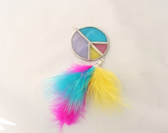 Big pendant peace in stained glass yellow, pink, blue and lilac, with removable charms tassel or feathers, necklace medallion hippie style