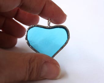 Torquoise heart glass pendant in blue stained glass and sterling silver transparent azure glass handmade in Italy