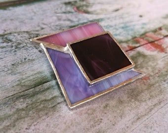 Purple lilac and pink geometric glass jewelry brooch, women gift bijoux for jackets or coats, jewelry clasp for foulard scarves or cardigans