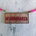 M'arimbarza quote necklace in pink and glitter, funny inspirational necklace with rubber and glass, motivational italian phrases
