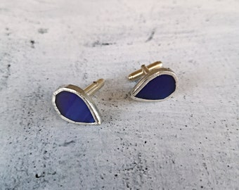 Teardrop blue glass cufflinks with silver base, men's jewelry for groom and best man shirt accessory for wedding, anniversary gift for him