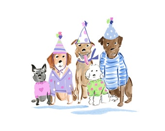 Birthday Dogs Clip Art Collection Watercolor
