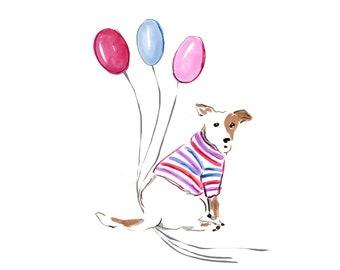 Birthday Printable - Printable - Balloons - Jack Russell Card - Children's Birthday Clip Art - Animal Clip Art - DIY Birthday Card