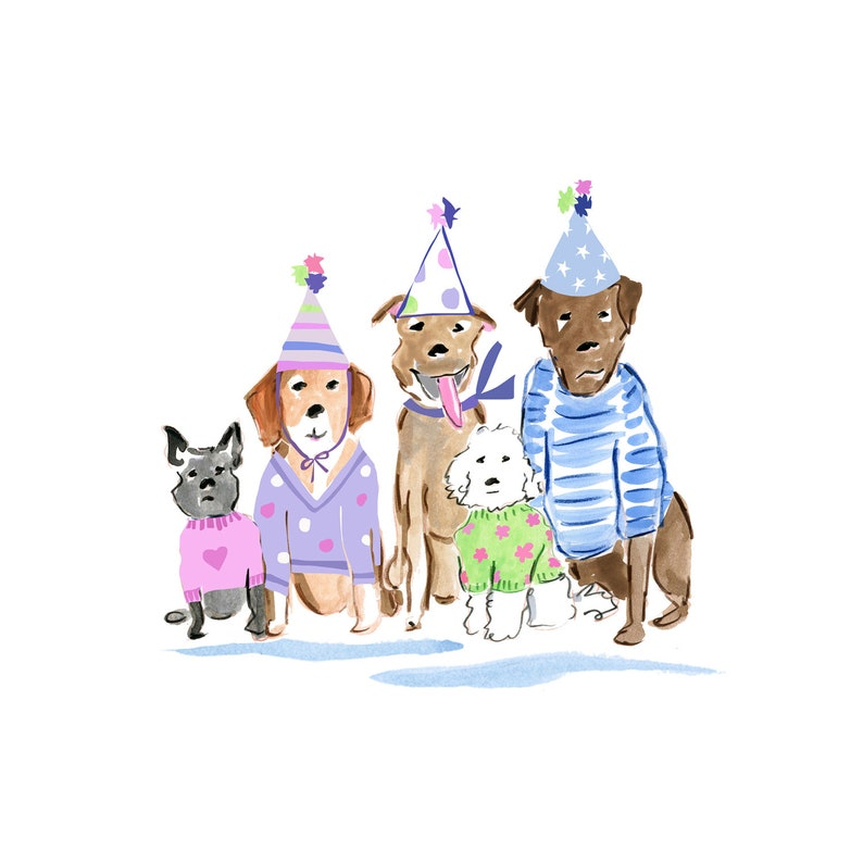 Dog Printable Watercolor Birthday Dogs