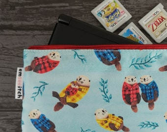 Sea Otters Wearing Plaid Cute Otter Patterned Nintendo New 2DS XL / 3DS XL / PS Vita / Kindle Zip Case - also for pencils, tools & makeup