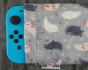 Fatsolotls Cute Chubby Axolotl Animal Patterned Nintendo Switch Protective Fabric Pouch Case