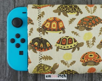 Tubby Tortoises Cute Grumpy Tortoise Patterned Nintendo Switch Protective Fabric Pouch Case