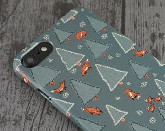 Renard forêt mignon Woodland renards Animal à motifs iPhone 5 / 5 s / SE / 6 / 6 / 7 / 8 X étui