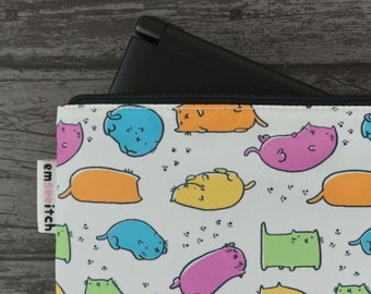 Bean Cats Cute Colourful Cat Patterned Nintendo New 2DS XL / 3DS XL / PS Vita / Kindle Zip Case - also for tablets, pencils, tools & makeup