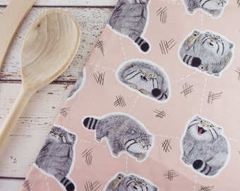 Pudgy Pallas' Cats Cute Illustrated Manul Cat Patterned Pink Tea Towel Dish Cloth