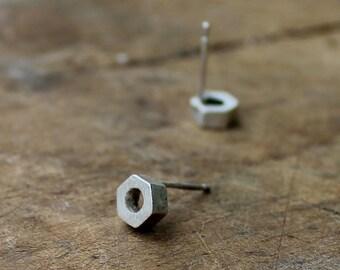 Bolt stud earrings silver earrings minimal earrings handmade earrings geometric earrings edgy earrings silver studs - amejewels