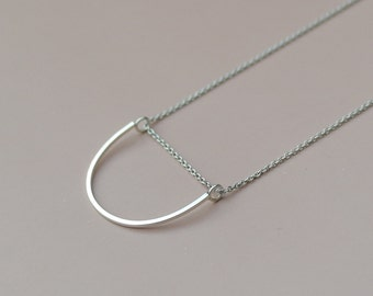Half circle necklace in sterling silver bar necklace everyday necklace curved bar necklace minimal jewelry geometric necklace - amejewels