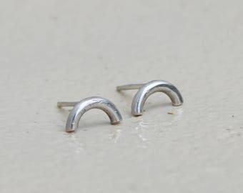 Open hoop earrings arc earrings semi circle studs sterling silver earrings minimalist earrings edgy earrings dainty earrings - amejewels