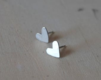 Heart earrings silver earrings love earrings minimalist earrings handmade earrings love stud earrings hearts earrings - amejewels