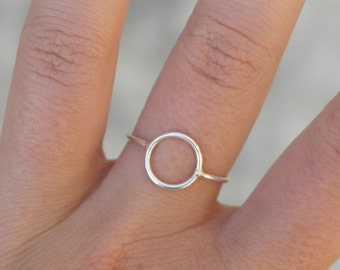 Circle ring sterling silver ring minimalist ring open circle ring geometric ring stackable ring dainty ring minimal jewelry - amejewels
