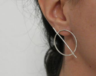Big circle earrings with a bar in sterling silver minimal earrings handmade earrings geometric earrings statement earrings - amejewels