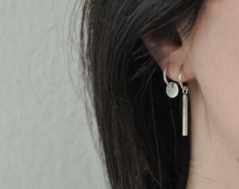 Small silver hoops sleeper hoops sterling silver earrings minimal earrings mismatched earrings tiny silver hoops - amejewels