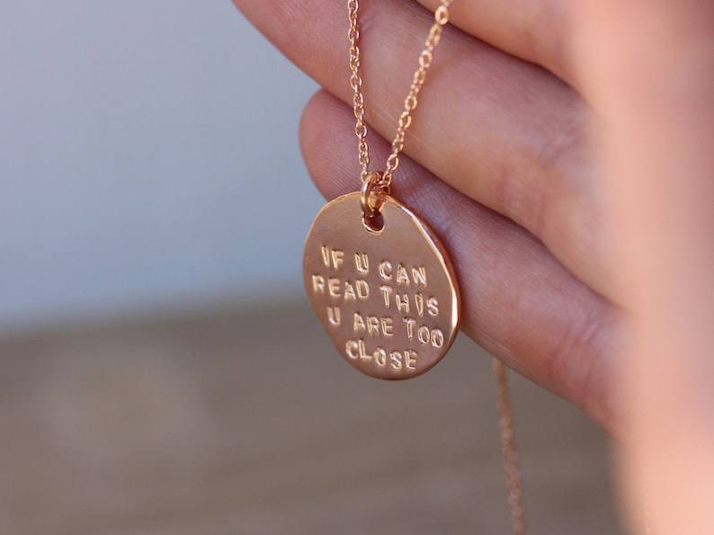 tag necklace sterling silver necklace tag pendant charm necklace minimal jewelry amejewels If you can read this you are too close