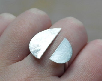 Geometric ring sterling silver ring adjustable ring moon ring modern jewelry half circle ring geometric jewelry boho ring - amejewels