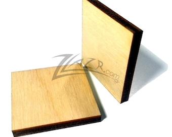 "50 Wooden SQUARES 1"" x 1"" x 1/8"" Craft Natural Hard wood Flat Rectangular Shapes USA MADE!"