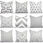 Throw Pillow Cover - Grey Pillow Cover - Grey Pillow Sham - Grey Lumbar Pillow - Grey Euro Sham - 16 18 20 22 24 26 Inch Pillow Cover