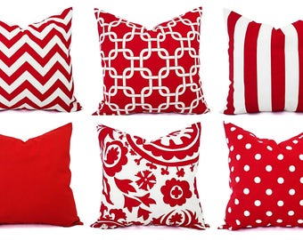 Red White Pillow Etsy