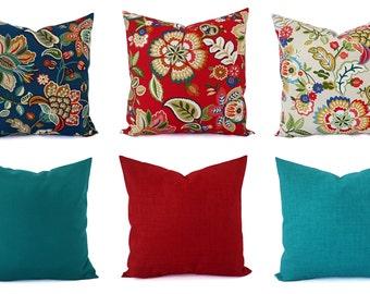 Outdoor Pillow Cover - Floral Pillow Sham - Red Throw Pillow - Teal Pillow  Cover - Solid Throw Pillow - Red Pillows - Blue Pillows - Custom 41248bf61