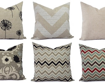 b1bad56ab17 One Throw Pillow Cover - Brown and Cream Decorative Pillows - 18 x 18 inch  20 x 20 16 x 16 Pillow - Burlap Pillows - Brown Accent Pillow