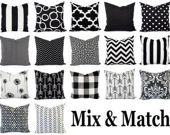 black white pillows etsy