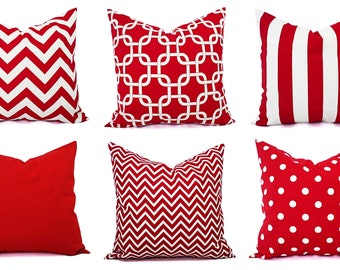 One Decorative Pillow - Red and White Pillows - Pillow Cover 20x20 Inch -  16 In Red Throw Pillow - Red Pillow - Red Chevron - Red Polka Dot 14d88cdb5