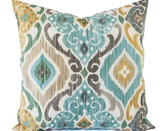 Two OUTDOOR Pillow Covers   Tan And Turquoise Pillow Cover   Blue Tan Pillow    Ikat Pillow   Decorative Pillow   Patio Pillow   Euro Sham