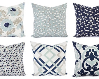 Navy Blue Pillow Cover Blue And White Throw Pillow Etsy