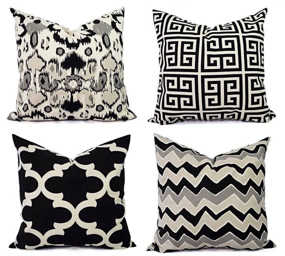 Black Throw Pillow Cover Black And Beige Pillow 40 X 40 Etsy Fascinating Black And Beige Decorative Pillows