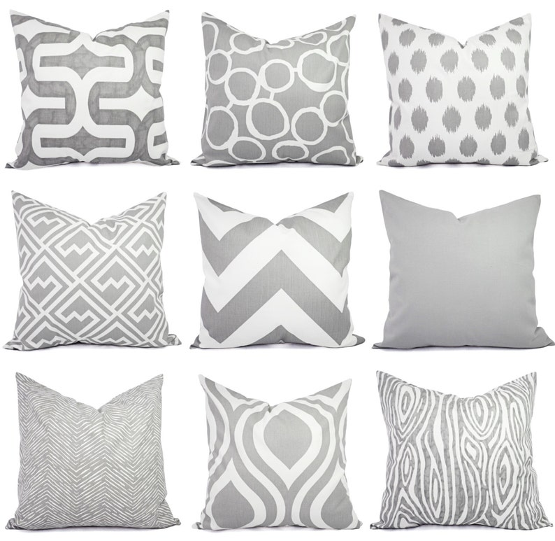 a22e498c88f Throw Pillow Cover - One Grey and White Pillow Cover - 16 x 16 Inch 18 x 18  Grey Decorative Pillows - Grey Pillow Cover - Grey Pillow Sham